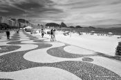 Travel photography:The typical pavement of Copacabana beach in Rio de Janeiro , Brazil