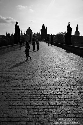 Silhouettes of Charles Bridge and Old Town skyline