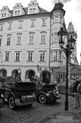 Travel photography:Vintage cars in Prague`s Old Town, Czech Republic