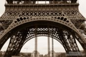 Travel photography:Sepia toned image of the Paris Eiffel Tower, France