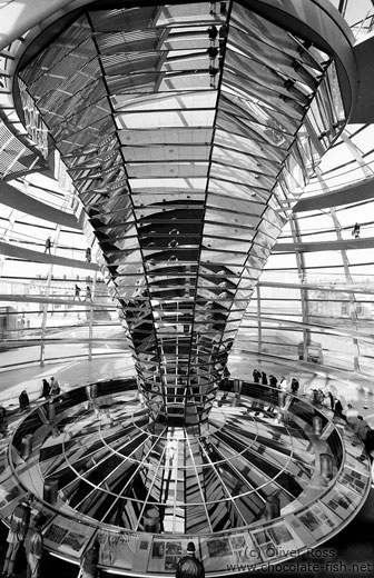 The central mirror construction inside the Reichstag cupola