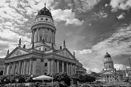 The German (foreground) and French Dome on the Gendarmenmarkt in Berlin