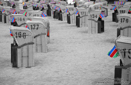Tinted black and white image of beach baskets in Laboe