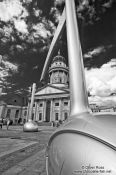 Travel photography:Berlin Gendarmenmarkt with French Dome and giant musical notes, Germany