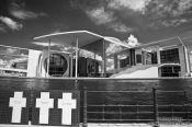 Travel photography:The Marie-Elisabeth-Lüders-House with memorial crosses for the victims of the Berlin Wall, Germany