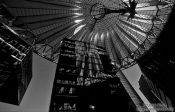 Travel photography:Buildings and roof construction at Berlin´s Sony Centre on Potsdamer Platz , Germany