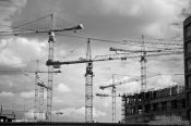 Travel photography:Construction cranes in Berlin, Germany