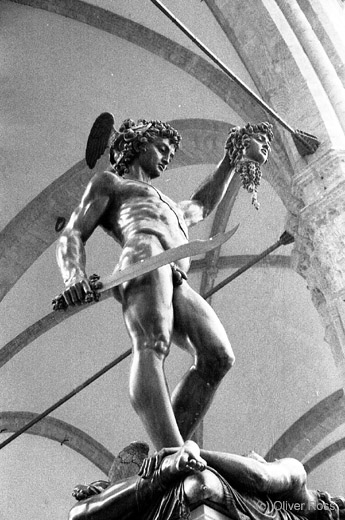 Sculpture by Benvenuto Cellini of Perseus slaying Medusa