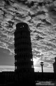 Travel photography:Silhouette of the Leaning Tower in Pisa, Italy