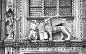Travel photography:The Venetian Lion above the entrance to San Marco Palace, Italy