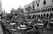 Travel photography:Tables outside a café in Piazza San Marco in Venice, Italy