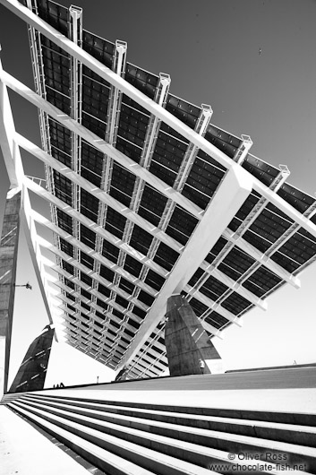 Large array of solar panels at the Barcelona Forum