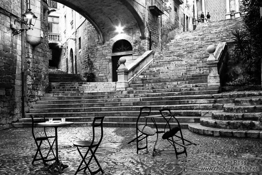 Small square in Girona`s historic old town