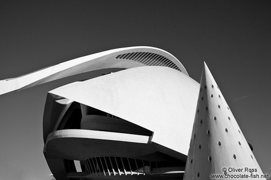 The Palau de les Arts Reina Sofía opera house in the Ciudad de las artes y ciencias in Valencia