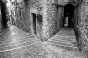 Travel photography:Street in Girona`s historical old town, Spain