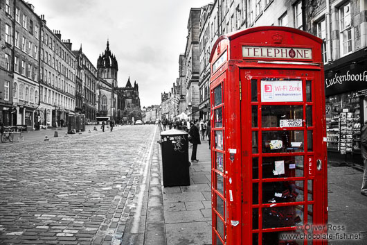 Public phone booth in edinburghs old town