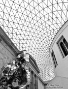 Travel photography:Sculpture and roof inside the London British Museum, United Kindom, England