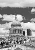 Travel photography:The London Millennium Bridge with St Paul´s Cathedral, United Kindom, England