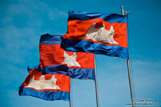 Cambodian flags in Phnom Penh