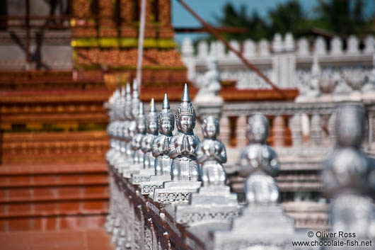 Row of little Buddhas at a temple in Phnom Penh
