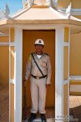 Travel photography:Guard outside the Royal Palace in Phnom Penh, Cambodia
