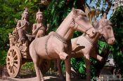 Travel photography:Chariot sculpture at Wat Ohnalom in Phnom Penh, Cambodia