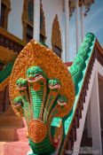 Travel photography:Multi-headed serpent at a temple in Phnom Penh, Cambodia