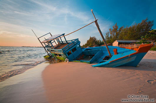 Stranded boat at Serendipity beach in Sihanoukville