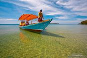 Travel photography:Boat anchored at Kaoh Ta Kiev Island near Sihanoukville, Cambodia
