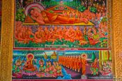 Travel photography:Wall painting inside a temple between Sihanoukville and Kampott , Cambodia