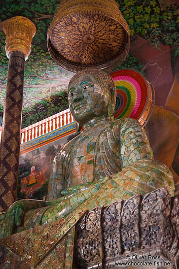 Giant green Buddha statue inside a temple at the Vipassara Dhara Buddhist Centre near Odonk (Udong)