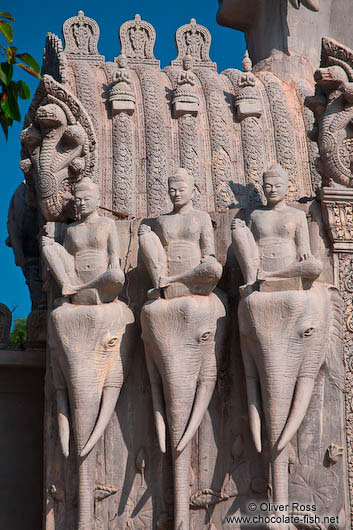 Elephant sculptures at one of the entrance gates to the Vipassara Dhara Buddhist Centre near Odonk (Udong)