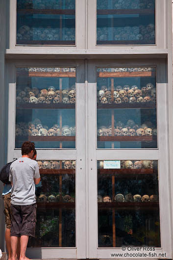 Collection of skulls indise the memorial stupa at the Killing Fields in Choeung Ek