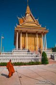 Travel photography:Monk outside a temple at the Vipassara Dhara Buddhist Centre near Odonk (Udong), Cambodia