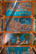 Travel photography:Painted ceiling of a temple at the Vipassara Dhara Buddhist Centre near Odonk (Udong), Cambodia