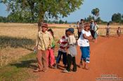 Travel photography:Group of kids near Odonk (Udong), Cambodia