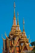 Travel photography:Roof detail of a temple near Odonk (Udong) , Cambodia