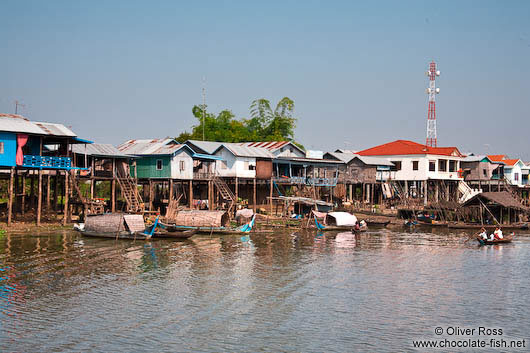 Small town with stilt houses near Tonle Sap lake