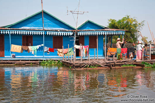 Floating houses near Tonle Sap lake