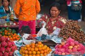 Travel photography:Fruit stall at the Battambang central market , Cambodia