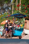Travel photography:Kitchen and family on wheels in Battambang, Cambodia