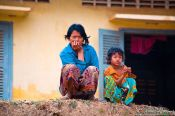 Travel photography:Mother with child near Battambang, Cambodia