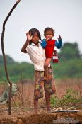Travel photography:Kids along the Stung Sangker river near Battambang, Cambodia