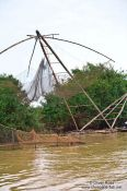 Travel photography:Large fishing net in the Stung Sangker river near Battambang, Cambodia