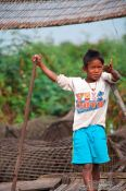 Travel photography:Small boy near the Tonle Sap lake, Cambodia