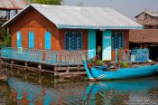 Travel photography:Floating house near Tonle Sap lake, Cambodia
