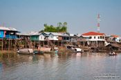 Travel photography:Small town with stilt houses near Tonle Sap lake, Cambodia