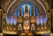 Travel photography:Main altar inside the Basilica de Notre Dame cathedral in Montreal, Canada