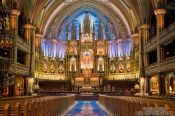 Travel photography:Interior of the Basilica de Notre Dame cathedral in Montreal, Canada