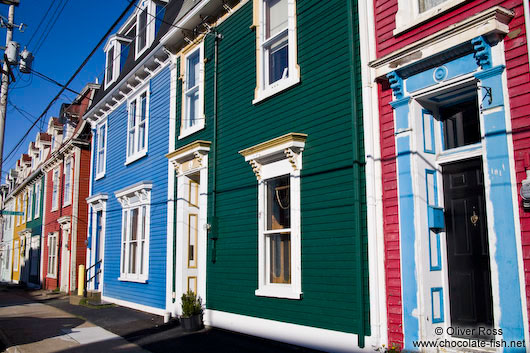 Row of wooden houses in St. John´s Gower street